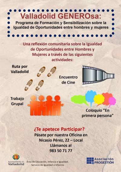 Valladolid GENEROsa, un proyecto de la Asociación Progestión que trabajará por la igualdad de la mujer